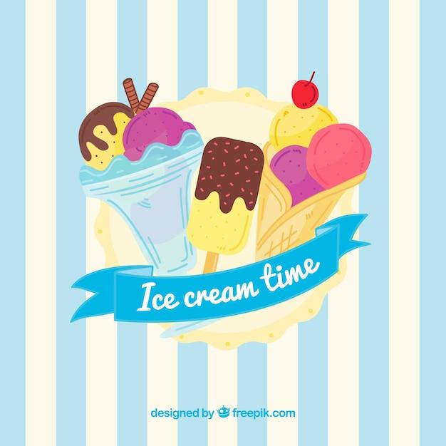 Listrado, fundo, sorvete, sortido Vetor grátis