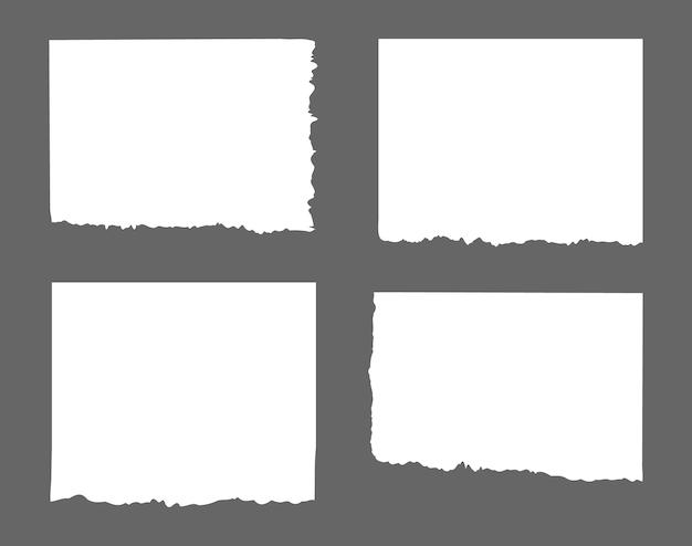 Listras brancas rasgadas, conjunto de resíduos de papel diferentes, bloco de notas, notas para texto ou mensagem presa Vetor Premium