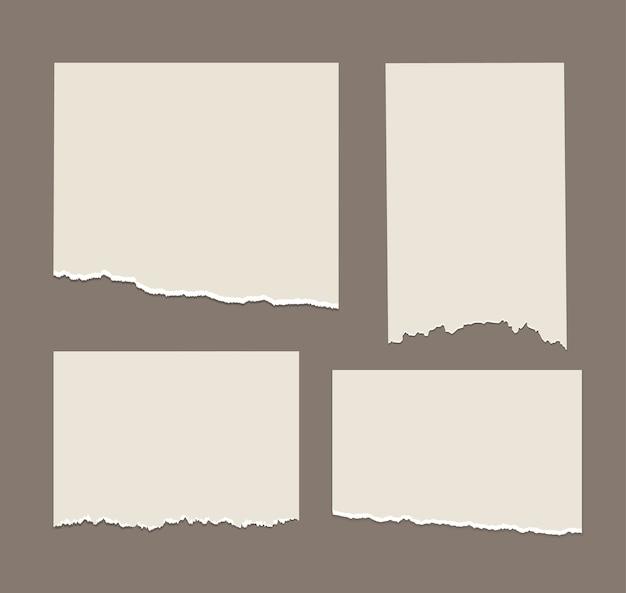 Listras brancas rasgadas recortes de papel diferentes definir notas do bloco de notas Vetor Premium