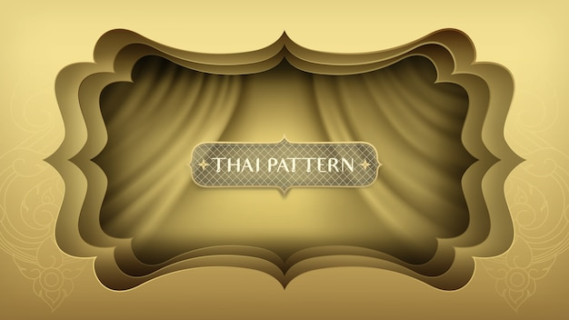 Listras de papel dourado abstrato da arte mais a cortina dourada. Vetor Premium