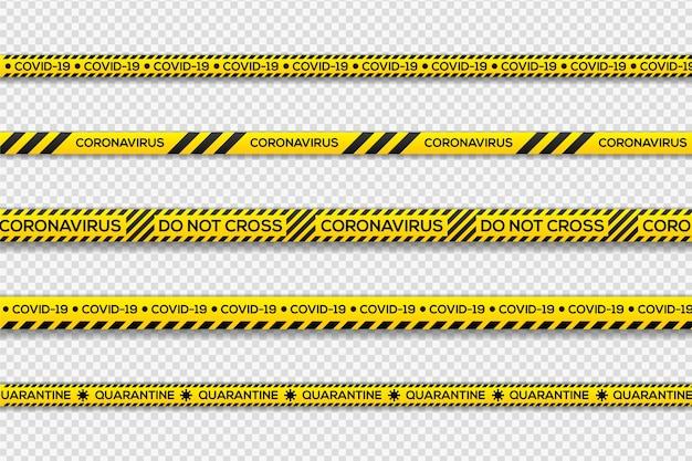 Listras de quarentena de perigo preto e amarelo Vetor grátis