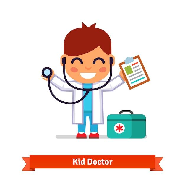 Little boy tocando médico com estetoscópio Vetor grátis