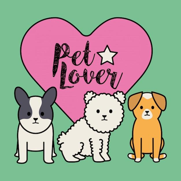 Little dogs adorables mascots com coração Vetor grátis