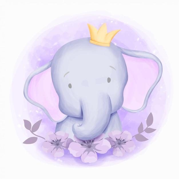 Little elephant cute portrait aquarela Vetor Premium