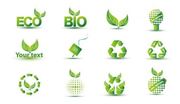 Livre verde eco ícone conjunto Vetor grátis