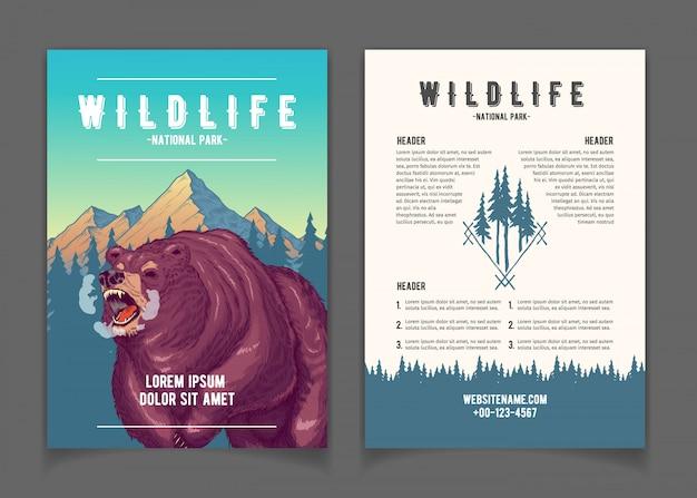 Livreto de promo dos desenhos animados do parque nacional Vetor grátis