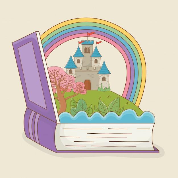 Livro aberto com castelo de conto de fadas e arco-íris Vetor grátis