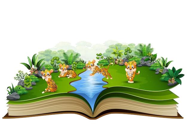 Livro aberto com um grupo de desenhos animados de tigre Vetor Premium