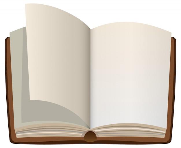 Livro aberto dos desenhos animados com páginas em branco vazias Vetor Premium