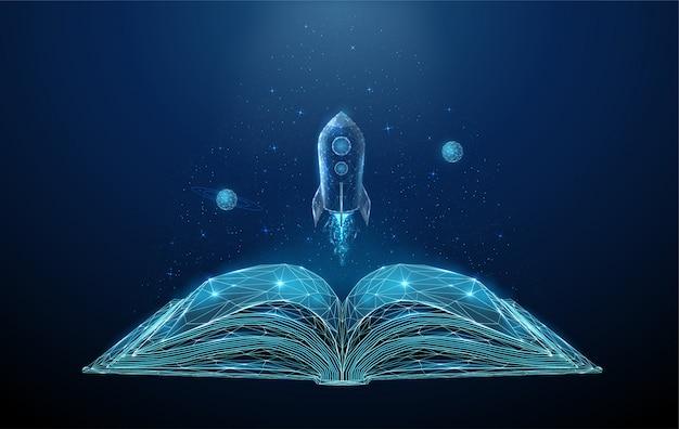 Livro aberto e foguete voador com estrelas e planetas. Vetor Premium