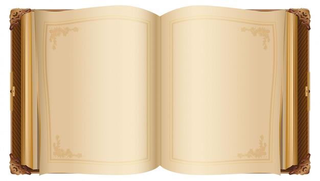 Livro aberto retrô com páginas em branco Vetor Premium