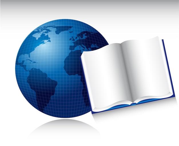 Livro aberto sobre o planeta azul com ilustração vetorial de sombra Vetor Premium