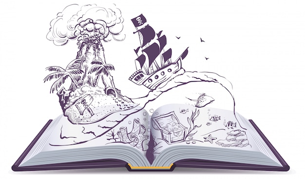Livro aberto sobre piratas e tesouros. o navio pirata de veleiro nada nas ondas. ilha do tesouro Vetor Premium