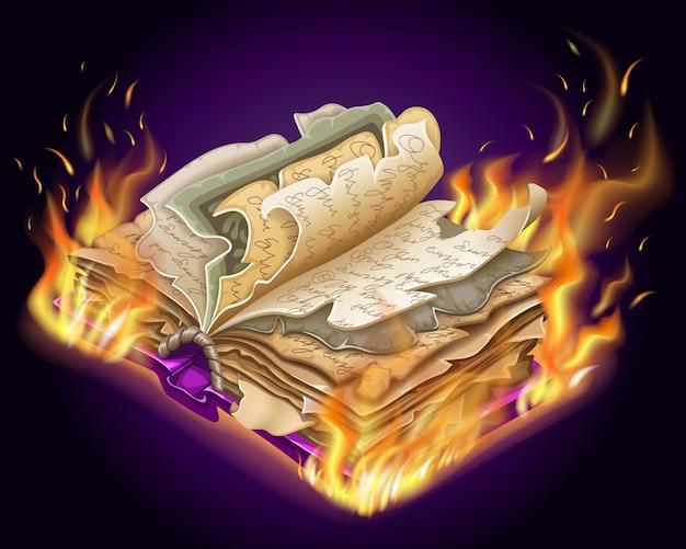 Livro ardente de feitiços e bruxaria. Vetor grátis