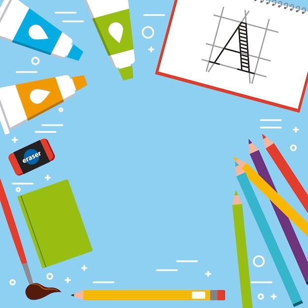 Livro artístico pincel borracha lápis tubo de cor acrílico Vetor Premium