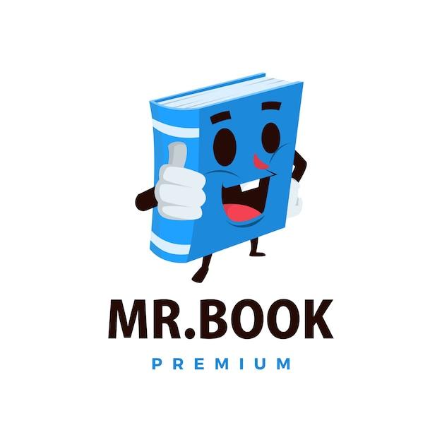 Livro bate a ilustração do ícone do logotipo do personagem mascote Vetor Premium