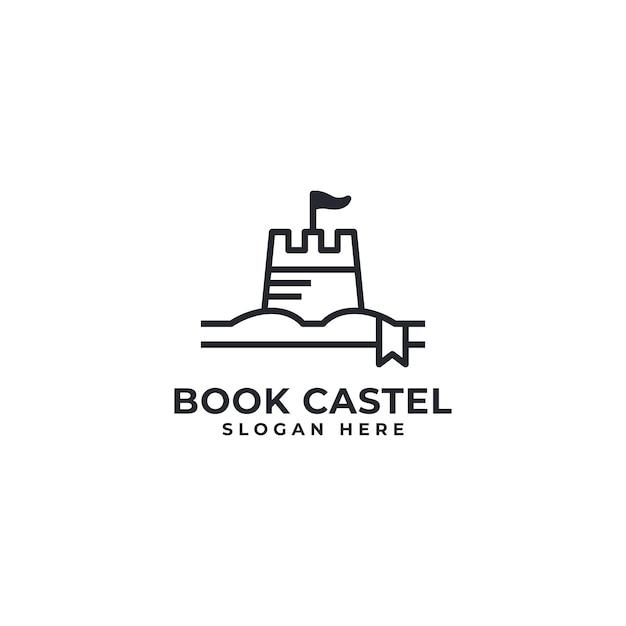 Livro castel logo Vetor Premium