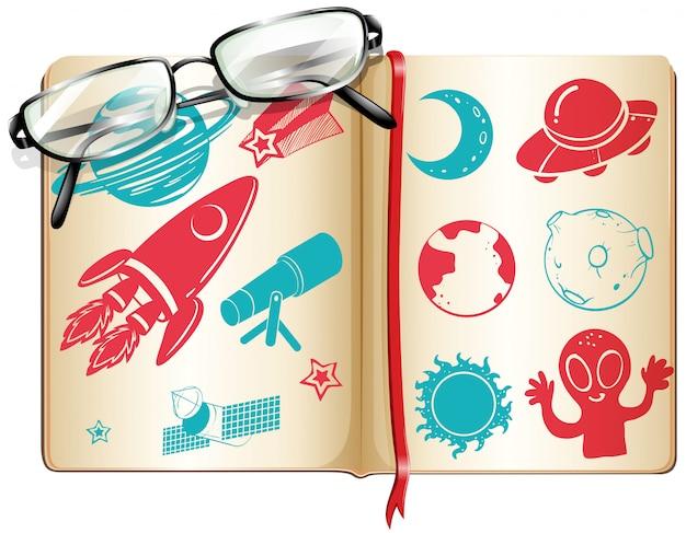 Livro cheio de símbolos da ciência Vetor grátis
