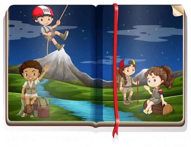 Livro com crianças acampadas no parque Vetor grátis