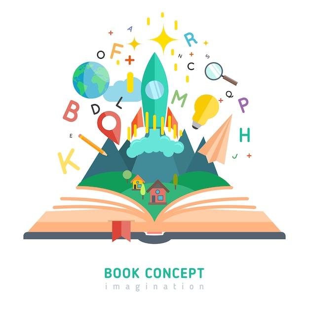 Livro, conceito, ilustração Vetor grátis
