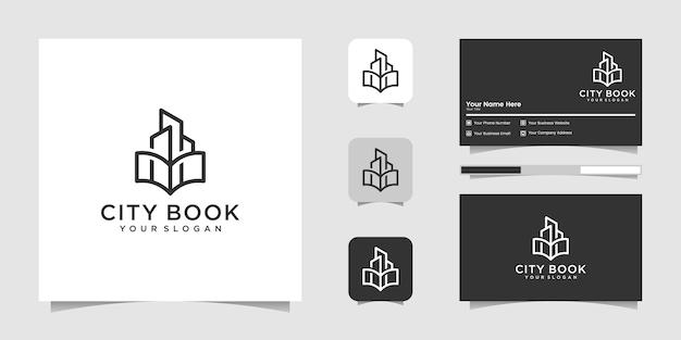 Livro da cidade ou livro doméstico modelo de logotipo de arte de linha e cartão de visita Vetor Premium