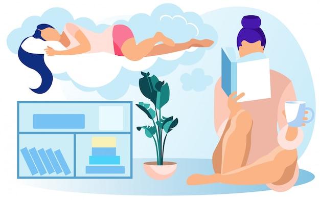 Livro de cabeceira sobre mulher, dormindo na nuvem fofa Vetor Premium