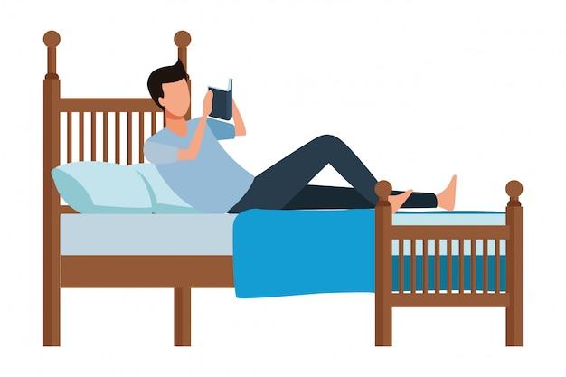 Livro de cama homem sem rosto Vetor Premium