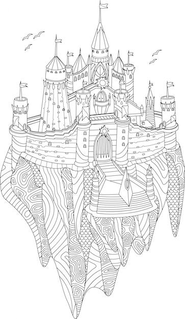 Livro De Colorir Adulto Com Castelo De Fantasia Em Uma Ilha