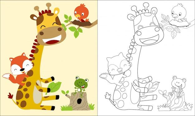 Livro de colorir com bom desenho animado de girafa e amigos Vetor Premium