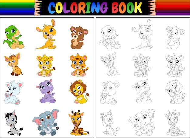 Livro De Colorir Com Colecao De Animais Selvagens Dos Desenhos