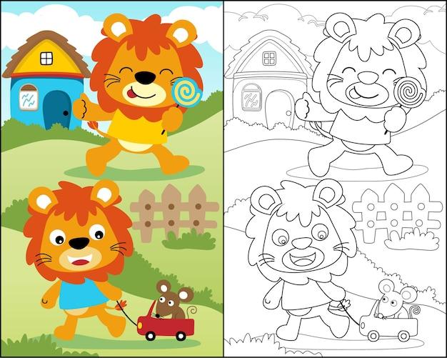 Livro De Colorir Com Desenho Animado Leao Engracado Vetor Premium