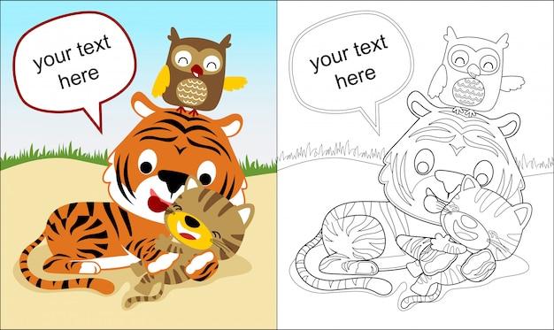 Livro de colorir com desenho de tigre e amigos Vetor Premium