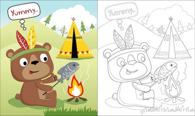 Livro de colorir com desenhos animados engraçados urso Vetor Premium