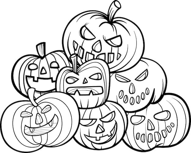 Livro De Colorir Das Aboboras De Halloween Vetor Premium