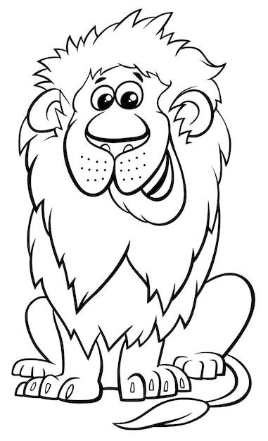 Livro De Colorir De Desenhos Animados De Personagem Animal Leao