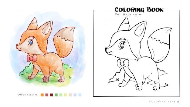 Livro De Colorir De Fox Bonito Carrinho Com Sorriso Rosto Aquarela