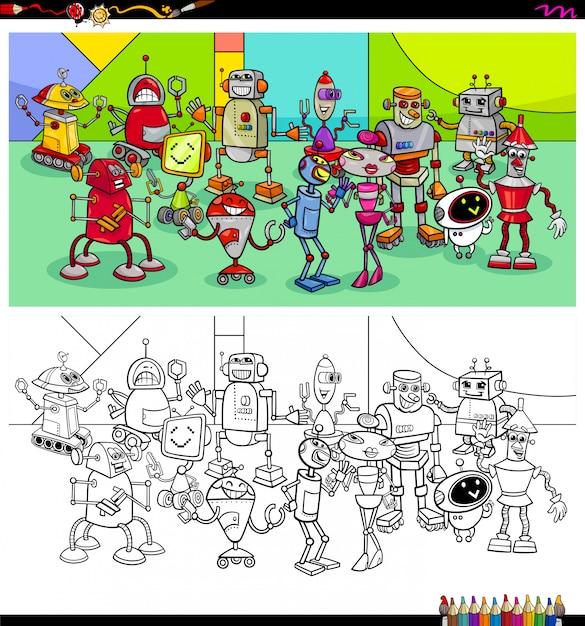 Livro de colorir de grupo de personagens de robô Vetor Premium