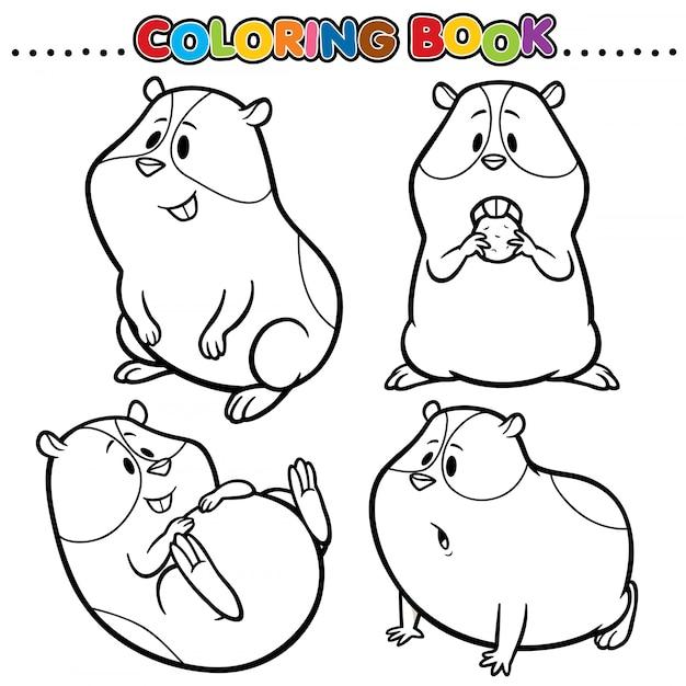 Livro De Colorir Dos Desenhos Animados Hamster Vetor Premium