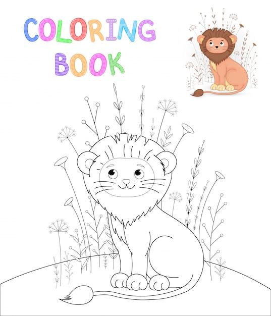Livro de colorir infantil com animais dos desenhos animados. tarefas educacionais para crianças pré-escolares leão bonito Vetor Premium