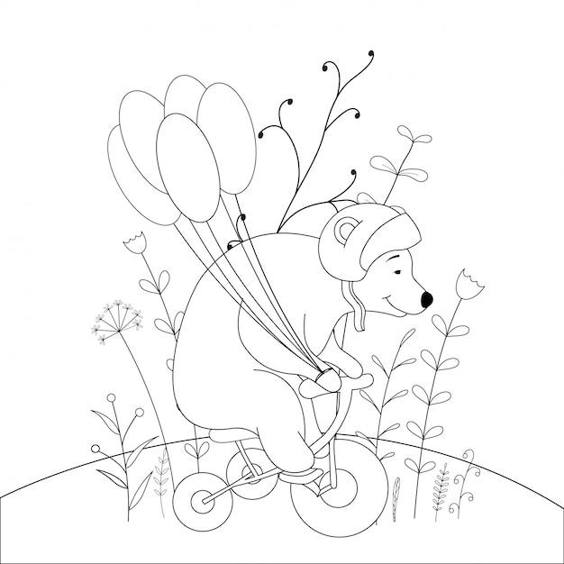 Livro De Colorir Infantil Com Animais Urso Vetor Premium