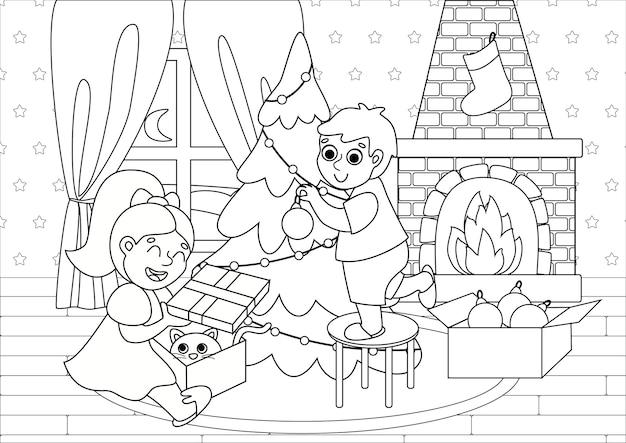 Livro de colorir infantil com crianças fofas decorando a árvore de natal e abrindo presentes. Vetor Premium