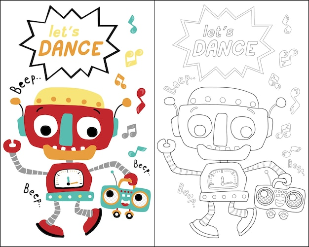 Livro De Colorir Ou Pagina Com Desenhos Animados De Danca De Robos