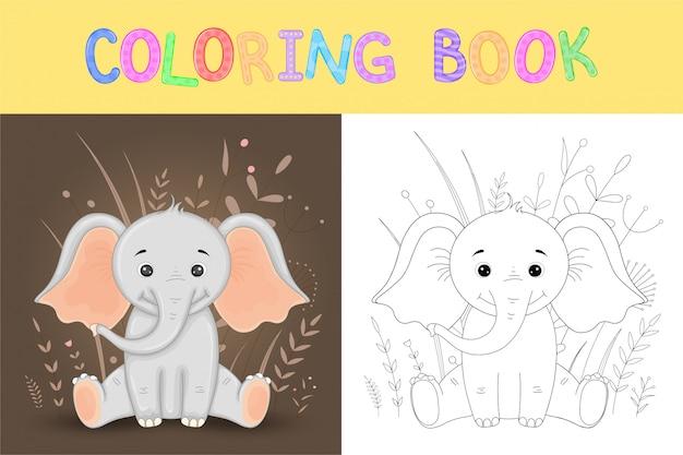 Livro de colorir ou página para crianças em idade escolar e pré-escolar. desenvolvimento de coloração infantil. ilustração de desenho vetorial com elefante fofo Vetor Premium