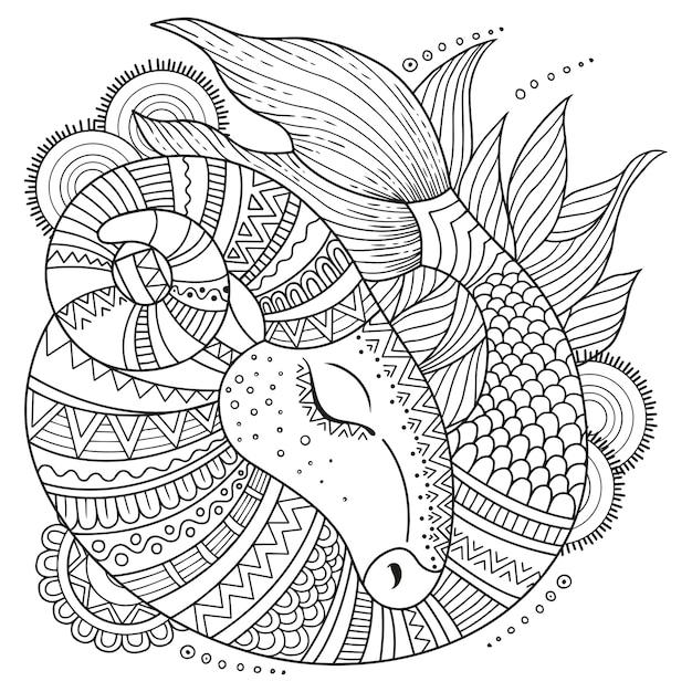 Livro de colorir para adultos. silhueta de capricórnio em fundo branco. capricórnio do zodíaco. Vetor Premium