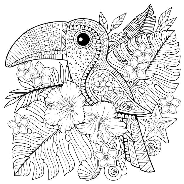 Livro de colorir para adultos. tucano entre folhas e flores tropicais. página para colorir para relaxar e reviver Vetor Premium