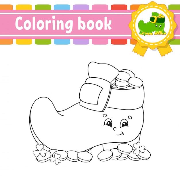 Livro De Colorir Para Criancas Bota De Duende Com Moedas