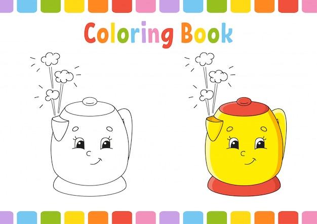 Livro de colorir para crianças. caráter alegre. ilustração vetorial estilo bonito dos desenhos animados. página de fantasia para crianças Vetor Premium