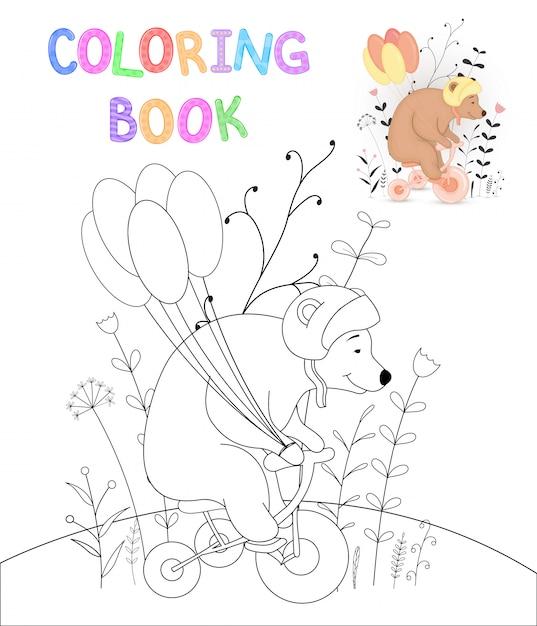 Livro de colorir para crianças com animais dos desenhos animados Vetor Premium