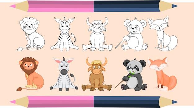 Livro de colorir para crianças em vetor. um conjunto de animais fofos. versões monocromáticas e coloridas. coleção infantil. Vetor Premium