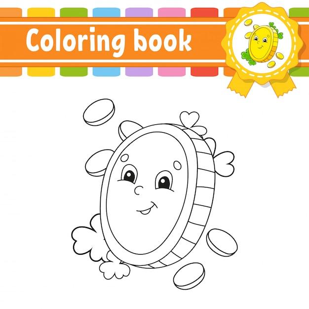 Livro De Colorir Para Criancas Moeda De Ouro Personagem Alegre